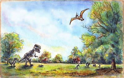 T Rex Drawing - Uninvited Picnic Guests by Retta Stephenson