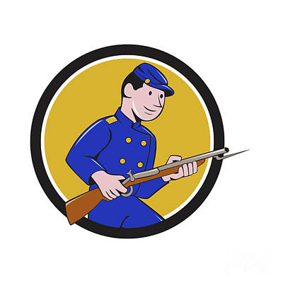 Bayonet Digital Art - Union Army Soldier Bayonet Rifle Circle Cartoon by Aloysius Patrimonio
