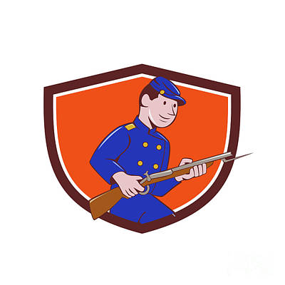 Bayonet Digital Art - Union Army Soldier Bayonet Rifle Crest Cartoon by Aloysius Patrimonio