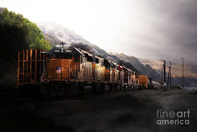 Wingsdomain Photograph - Union Pacific Locomotive At Sunrise . 7d10561 by Wingsdomain Art and Photography