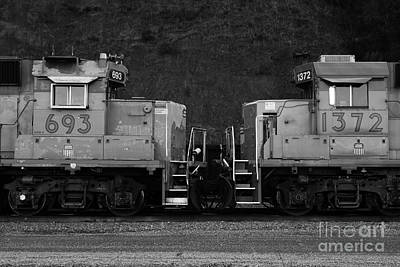 Train Tracks Photograph - Union Pacific Locomotive Trains . 7d10574 . Black And White by Wingsdomain Art and Photography