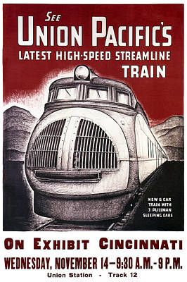 Union Pacific Record-breaking Streamline Train 1934 Print by Daniel Hagerman