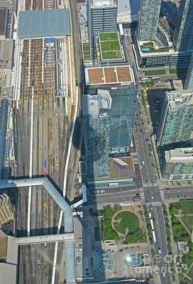 Aerial Perspective Painting - Union Station Train Yard Toronto From The Cn Tower by John Malone