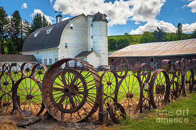 Eccentric Photograph - Uniontown Wagon Wheel Fence  by Inge Johnsson