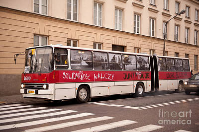Unique Solidarnosc Bus On Street Print by Arletta Cwalina
