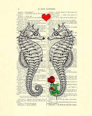 Seahorse Digital Art - Unique Valentines Day Gift Ideas, Seahorses by Madame Memento