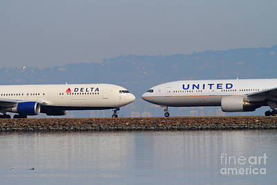 San Francisco Airport Photograph - United Airlines And Delta Airlines Jet Airplane At San Francisco International Airport Sfo . 7d12091 by Wingsdomain Art and Photography