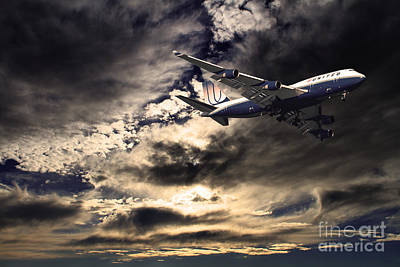 United Airlines . Flying The Friendly Skies Print by Wingsdomain Art and Photography
