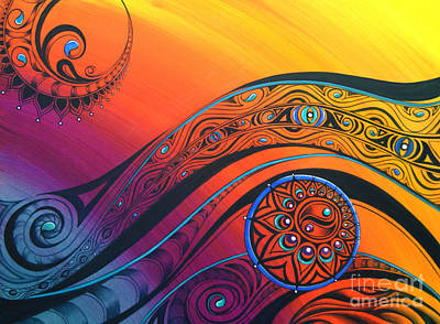 Sun Symbol Painting - Tribal Flow by Reina Cottier