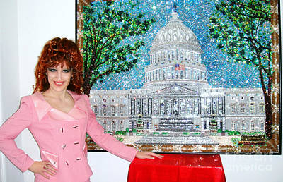 Bead Embroidery Painting - United States Capitol Building. Bead Embroidery by Sofia Goldberg