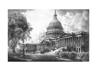 Capitol Building Mixed Media - United States Capitol Building by War Is Hell Store