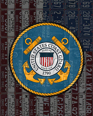 United States Coast Guard Logo Recycled Vintage License Plate Art Print by Design Turnpike