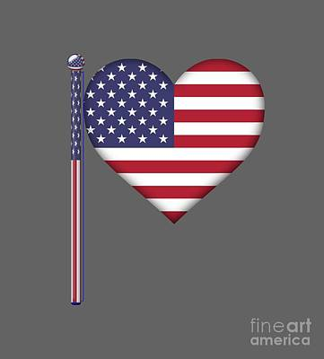 United States Heart Flag Original by Frederick Holiday