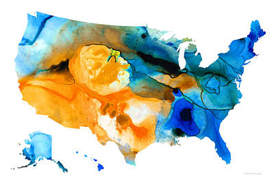United States Map - America Map 9 - By Sharon Cummings Print by Sharon Cummings