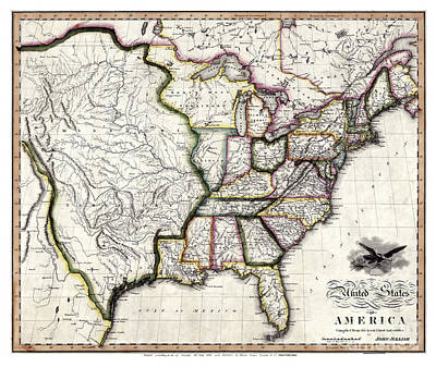 Vintage Map Painting - United States Of America By John Melish - 1818 by Pablo Romero