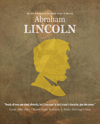 Abraham Mixed Media - United States Of America President Abraham Lincoln Facts Portrait And Quote Poster Series Number 16 by Design Turnpike