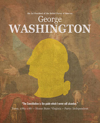 George Washington Mixed Media - United States Of America President George Washington Facts And Portrait Poster Series Number 1 by Design Turnpike