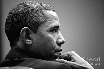Barack Obama Photograph - United States President Barack Obama Bw by Celestial Images