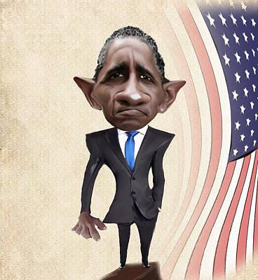 Official Portrait Digital Art - United States President Barack Obama by Lee went