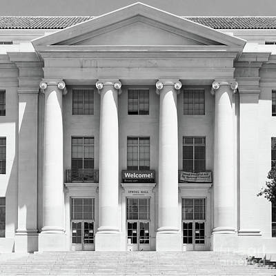University Of California Berkeley Historic Sproul Hall At Sproul Plaza Dsc4081 Square Bw Print by Wingsdomain Art and Photography