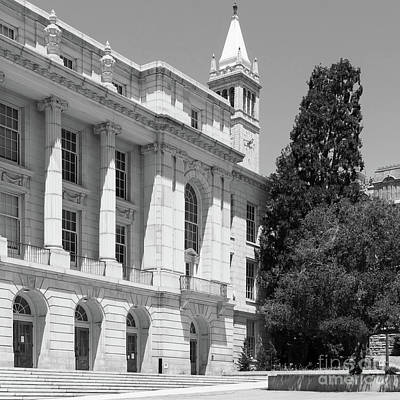 University Of California Berkeley Ide Wheeler Hall South Hall And The Campanile Dsc4066 Sq Bw Print by Wingsdomain Art and Photography