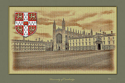 Cambridge Digital Art - University Of Cambridge Buildings Overlaid With Official 3d Coat Of Arms by Serge Averbukh