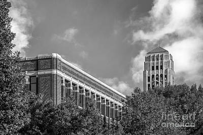 University Of Michigan Natural Sciences Building With Burton Tower Print by University Icons