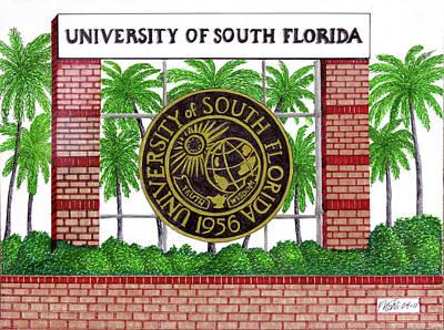University Of South Florida Print by Frederic Kohli