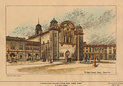 University School Painting - University Of South Wales Cardiff Wales 1904 by William Caroe