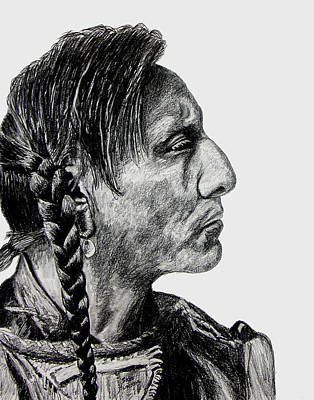 Pencil Drawing - Unknown Indian II by Stan Hamilton