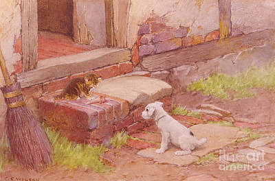 1890 Houses Painting - Unlikely Friends by MotionAge Designs