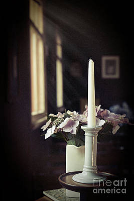 Unlit Candle In Old Church Print by Amanda Elwell