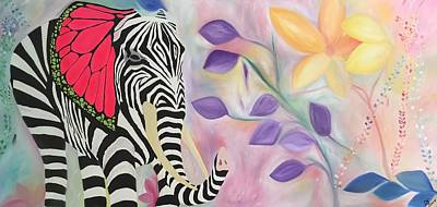Striped Butterfly Painting - Untitled  by Dianne Gallagher