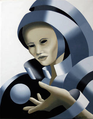Sphere Painting - Untitled Futurist Mask Oil Painting by Mark Webster