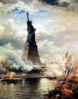 Liberty Painting - Unveiling Of The Statue Of Liberty Enlightening by MotionAge Designs