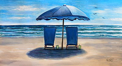 Birds Painting - Unwind At The Beach by Elizabeth Robinette Tyndall