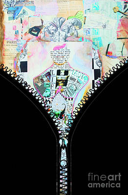 Anahi Decanio Mixed Media - Unzipped Original Woman by WALL ART and HOME DECOR