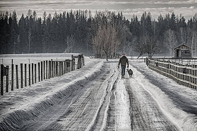 A Rancher And His Border Collie Print by Janet Ballard