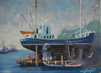 Boats In Water Painting - Up For Repairs by Len Stomski