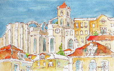 Burned Clay Painting - Up From Rossio Square by Pat Katz
