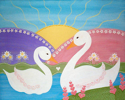 Girls Painting - Upon Swan Lake by Samantha Shirley