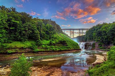 Railroad Bridge Photograph - Upper Falls At Sunset by Mark Papke