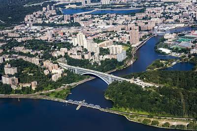 Upper Manhattan Aerial View Print by Susan Candelario