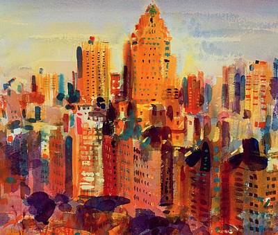 Rust Art Painting - Upper Manhattan by Peter Graham