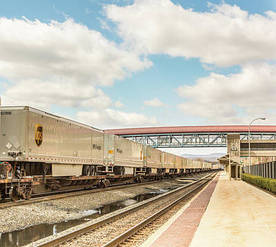Ups Freight Train Print by Eclectic Art Photos