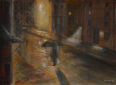Watercolor Painting - Urban Isolation by Ken Figurski