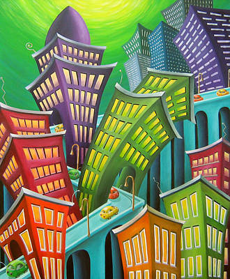 Skyline Painting - Urban Vertigo by Eva Folks