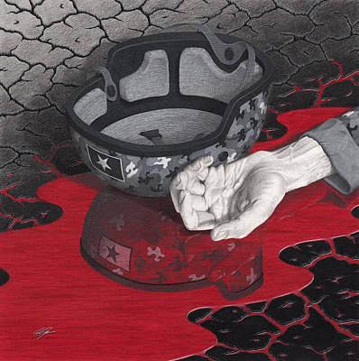 Helmet Mixed Media - Us And Them by Joe Burgess