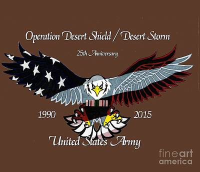 Storm Drawing - Us Army Desert Storm by Bill Richards