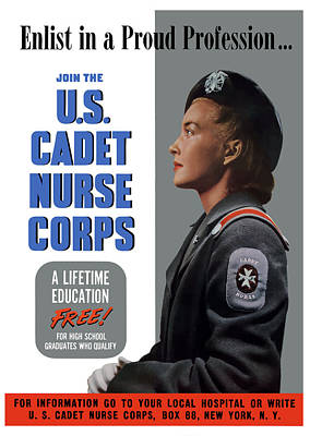 Painting - Us Cadet Nurse Corps - Ww2 by War Is Hell Store